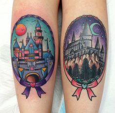 Disney and Harry Potter castle tattoos