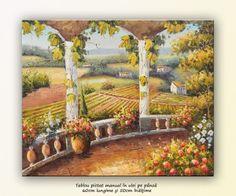 poza Peisaj cu flori, viță de vie si case ... ulei pe pânză 60x50cm