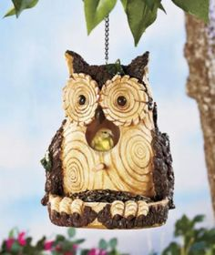 Carved Wood-look Birdhouses And Feeders - Owl, Raccoon, Or Squirrel