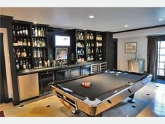 Bar/pool room in the basement. A Man Cave with occasional Girl invasions. :):