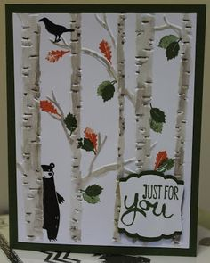 For the Wacky Watercooler Blog Hop. Using Woodand Embossing Folder, Among the Branches and Thankful Forest Friends stamp sets. Stamping and other stuff: September Free For All