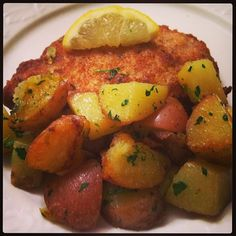 Schnitzel with Roasted Red Potatoes