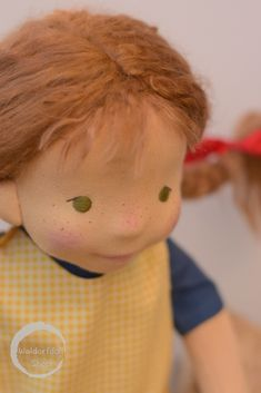 """Pippi is a 17"""" tall Natural Fibre Art Doll, her hair has been created using alpaca fibres"""