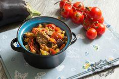Bocconcini+di+manzo+con+melanzane+e+pomodorini