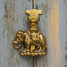 Antique Elephant and Howdah Door Knocker Brass by KnockPlease on etsy.com