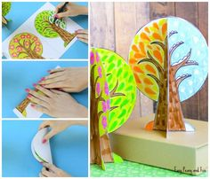 Four Seasons Tree Craft With Template - Easy Peasy and Fun Crafts For Kids To Make, Diy Arts And Crafts, Fall Crafts, Art For Kids, Paper Crafts, Four Seasons Art, Trees For Kids, Magic Crafts, Montessori Art