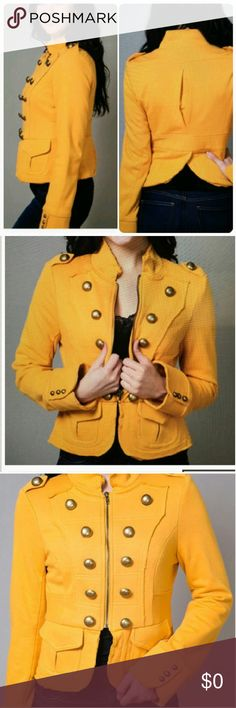 Knitted Dove yellow jacket Never worn edge of the collar, sleeves and the end of the jacket are not hemmed. Please see last photo. That is how it's designed.                    h Anthropologie Jackets & Coats Capes
