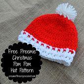 Ravelry: Free Preemie Christmas Pom Pom Hat Pattern pattern by Brie @ Cream Of The Crop Crochet