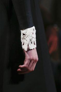 Valentino Fall Winter/ 2013 _ Note to self: idea...cut and sew lace, fabric into embellished cuffs that detach or not...attention to details.