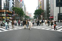 A busy pedestrian crossing in Ginza, Tokyo