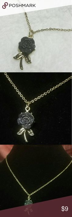"""Colette Hayman's """"Black Rose"""" Pendant 18"""" + 3"""" extender gold chain w/ lobster clasp closure. 1.25"""" Gold & Black Rose Pendant. ITEM#N316 ALL JEWELRY IS NWT/ NWOT/ UNUSED VINTAGE  25% OFF BUNDLES OF 3 OR MORE ITEMS! BUY WITH CONFIDENCE~TOP 10% SELLER, SAME DAY SHIPPING, 5 STAR RATING! FREE GIFT(S) WITH MOST ORDERS! Colette Hayman  Jewelry Necklaces"""