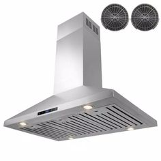 AKDY 36 in. Convertible Kitchen Island Mount Range Hood in Stainless Steel with Touch Control and Carbon Filter-RH0260 - The Home Depot Stainless Steel Island, Brushed Stainless Steel, Kitchen Tops, Kitchen Island, Electronic Recycling, Recycling Programs, Carbon Filter, The Smoke, Filters