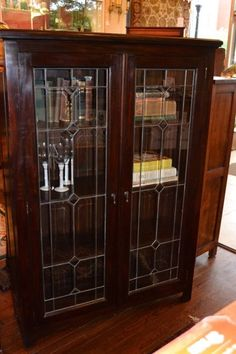 Mahogany 2 door bookcase/china cabinet with by OakParkAntiques ...