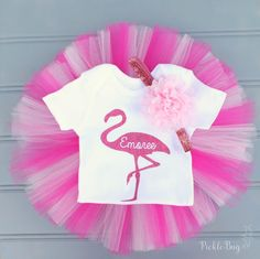 Pink Flamingo First Birthday Outfit Personalized by PICKLEBUG