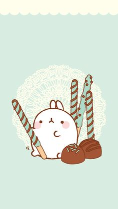 Molang Blue and Brown Chocolate Pocky Wallpaper