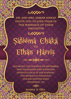 Arabian Nights Wedding Invitation Suite by EnchantedDesigns4U
