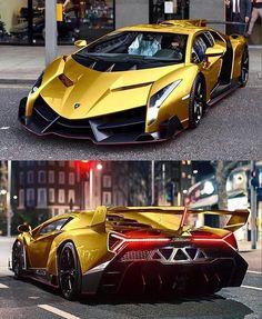 Real Racing Lamborghini Veneno with Golden Tribal Tattoo Vinyl #lamborghiniveneno