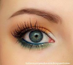 eyeshadows: MakeupGeek: Ice Queen, Chickadee, Brown Sugar, Appletini i Peacock. Gel liner Makeup Geek: Fame. Mascara Etre Belle