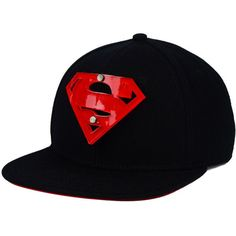 DC Comics Superman Acrylic Logo Snapback Cap ($35) ❤ liked on Polyvore featuring accessories, hats, snap back hats, logo snapback hats, cap snapback, logo caps and caps hats