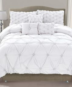 This White Cosmo Smocked Comforter Set is perfect! #zulilyfinds