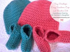"""""""For a unique baby shower gift, try this simple cap and booties layette set by St. Clement's Daughter (stclementsdaughter.com). The cap takes me about an hour and a half to make, and the booties take about an hour. Because the patterns are quick and easy, it's a great last-minute project for a newborn or preemie. Try different colors from traditional pink and blue, such as the Soft Red and Aqua here, for a change!"""""""