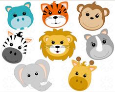 8 Safari Animals Clip Art Images - INSTANT DOWNLOAD - PNG - Invitations, Party…