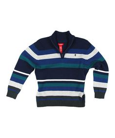 This Blue & White Stripe Pullover - Toddler & Boys by IZOD is perfect! #zulilyfinds