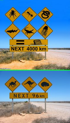 Fake - Australian Road Signs - The top image(and many more) is an entry in a contest at freakingnews.com.  The source image is shown on the bottom.