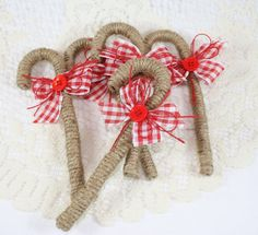 Burlap Twine Christmas Candy Cane by EndlessInkHandmade on Etsy, $2.75