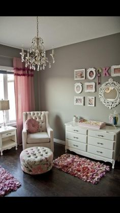 Little girls room. A relaxing color scheme.    Try Benjamin Moore Quiet Moments 1563 http://www.myperfectcolor.com/en/color/5000_Benjamin-Moore-1563-Quiet-Moments to get this classic look.