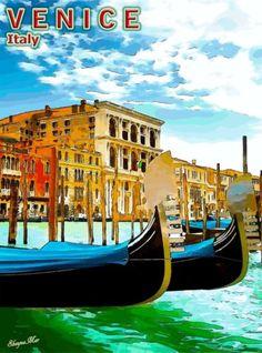 Venice-Venezia-Gondola-Boats-Italy-Italian-Europe-Travel-Advertisement-Poster
