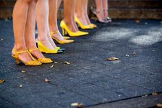 Fun yellow shoes, mismatch