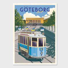 Poster Spårvagnen Format: 50x70 cm. Göteborgs spårvägar har funnits sedan 1879. Först med hästspårvagnar och sedan 1902 med elektriska vagnar. Lisebergslinjen
