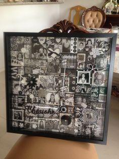 Black & white theme scrapbook box frame Black And White Theme, Black White, Scrapbook Box, Box Frames, French, Handmade, Home Decor, Black And White, Hand Made