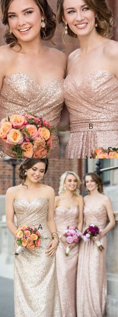 Sparkly Strapless Rose Gold Long Sequins Bridesmaid Dress - Thumbnail 3