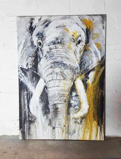 Elefant, Unikat auf Leinwand kaufen, direkt im Atelier von Stefanie Rogge #artartforsale #wildlife #elephant #interiordesign #inneneinrichtung #safari #africa #afrika #kunst #malerei #art #shopping