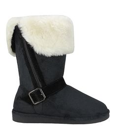 Look at this #zulilyfind! Black Faux Shearling  Boot #zulilyfinds