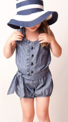 Anthem of the Ants Cabana Suit (indigo) : Dresses + Skirts + Rompers: Girl Clothes Baby Girl Fashion, Kids Fashion, Romper With Skirt, Denim Romper, Little Fashionista, Cute Rompers, Stylish Kids, Kid Styles, My Baby Girl