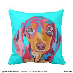 95eab46e67afe Light Blue Abstract Dachshund Throw Pillow. Colorful home decor idea. Cute  gift idea for