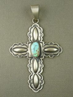 Natural Pilot Mountain Turquoise Gem Cross Pendant - Derrick Gordon for $229.00 | Sterling Silver Jewelry | Native American Jewelry