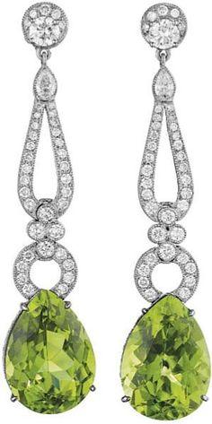 140: A Pair of Peridot and Diamond Ear Pendants. : Lot 140