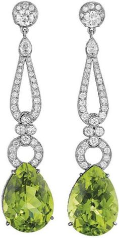 140: A Pair of Peridot and Diamond Ear Pendants. : Lot 140