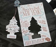 """scented holiday """"air freshener"""" letterpress invitations"""
