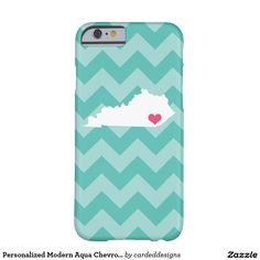 Personalized Modern Aqua Chevron Kentucky Heart Barely There iPhone 6 Case