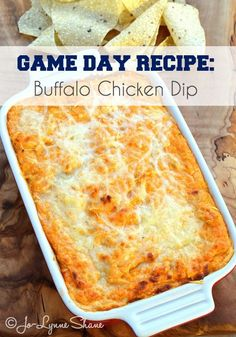 No SuperBowl Party is complete without Buffalo Chicken Dip. Find out my secret for making this THE BEST Buffalo Chicken Dip recipe EVER: http://www.jolynneshane.com/gluten-free-buffalo-chicken-dip.html | Game Day Recipes | Super Bowl 2015