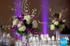 White Hydrangea & Purple Orchid Centerpieces