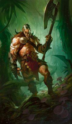 Garruk, Primal Hunter art by D. Alexander Gregory Magic the Gathering planeswalker Fantasy Warrior, Fantasy Rpg, Medieval Fantasy, Fantasy Artwork, Dark Fantasy, Character Portraits, Character Art, Character Inspiration, Character Design