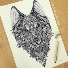 Tribal Wolf tattoo idea