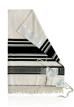 Wool Yemenite Moreshet Tallit with Black Stripes and White Atara by World of Judaica. $236.00. This wool Yemenite Moreshet Tallit is a traditional item that has black stripes on the sides, reinforced corners, knotted sides and an Atara at the top. This wool Yemenite Moreshet Tallit is made from high quality sheep wool and has numerous black stripes in different widths on its sides with the thickest band running down the middle. The Tallit has reinforced corners that are de...