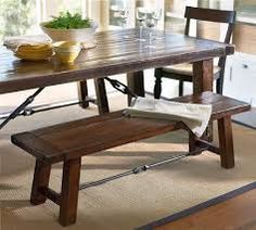 long low rustic kitchen table with benches - Google Search
